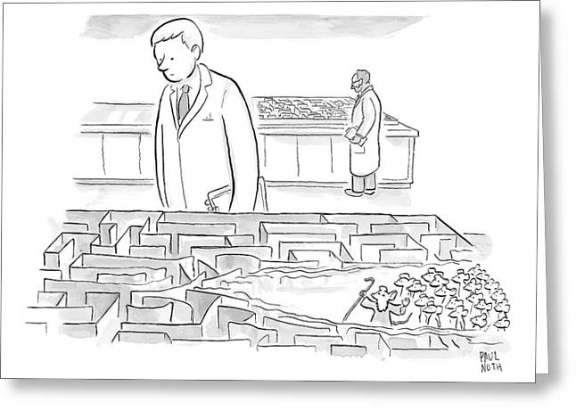 A Laboratory Scientist Looks On As The Walls Greeting Card by Paul Noth