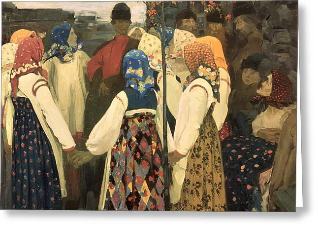 A Lad Has Wormed His Way Into The Girls Round Dance, 1902 Greeting Card by Andrei Petrovich Ryabushkin