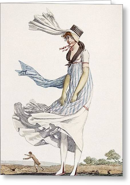 Stripes. Blowing Greeting Cards - A Ladies Summer Promenade Dress, 1800 Greeting Card by Philibert Louis Debucourt