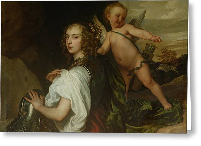 Armour Greeting Cards - A Lady As Erminia, Attended By Cupid, C.1638 Greeting Card by Sir Anthony van Dyck