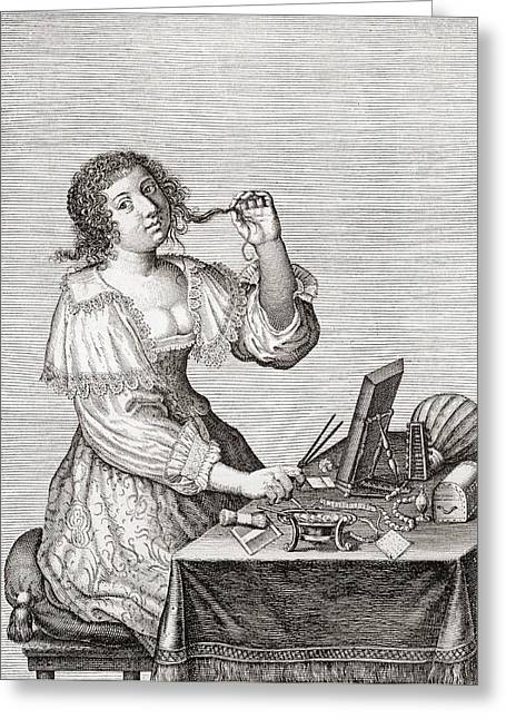 Preening Greeting Cards - A Lady At Her Toilette, After A 17th Century Engraving By Le Blond.  From Illustrierte Greeting Card by Bridgeman Images