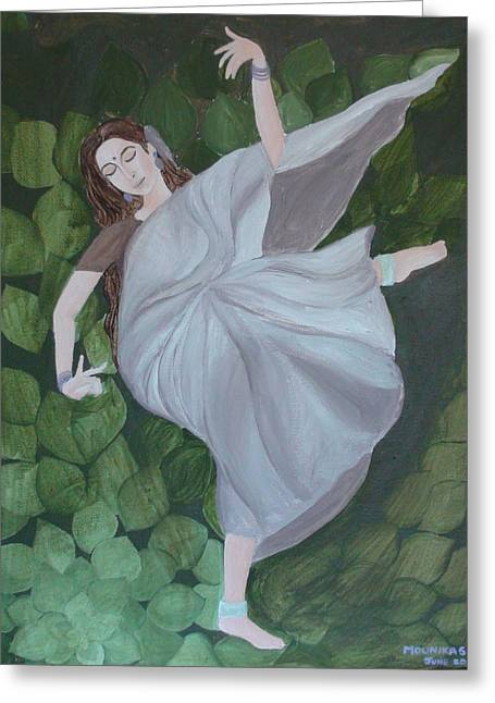 Art For The Dancer Greeting Cards - A Lady Dancing With Passion In An Ecstasy Greeting Card by Mounika Narreddy