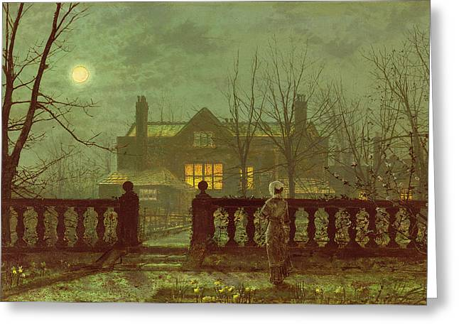 Haunted House Paintings Greeting Cards - A Lady In A Garden By Moonlight Greeting Card by John Atkinson Grimshaw