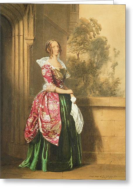 White Paintings Greeting Cards - A Lady In Her Costume Worn Greeting Card by Edward Henry Corbould