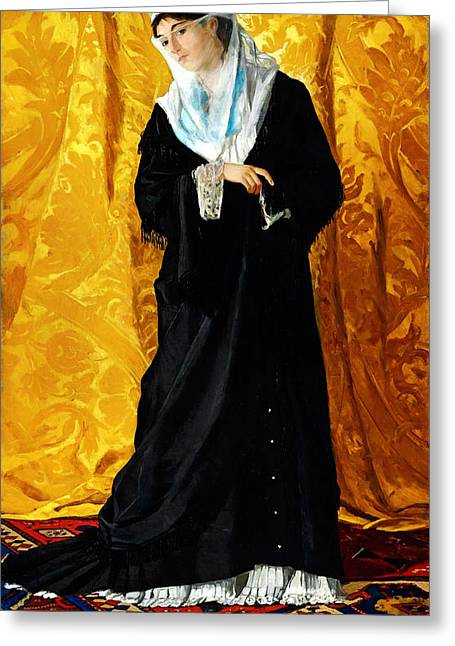 Bey Greeting Cards - A Lady of Constantinople Greeting Card by Osman Hamdi Bey