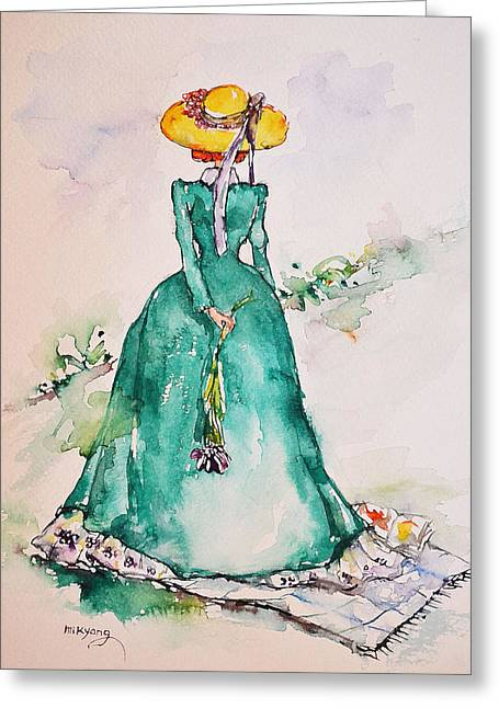 Sprit Drawings Greeting Cards - A Lady On A Picnic Greeting Card by Mikyong Rodgers