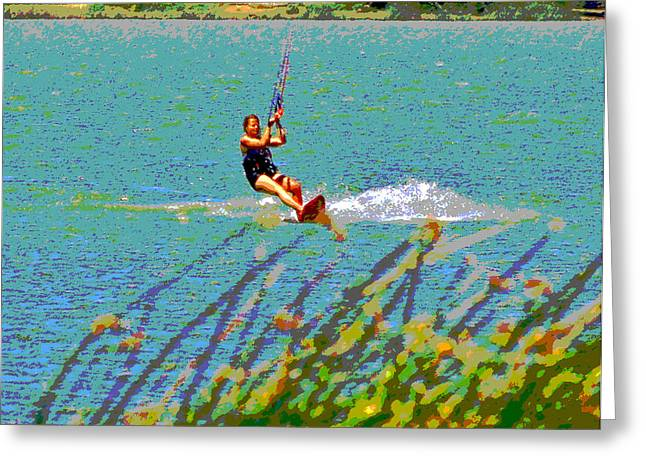 Wind Surfing Art Greeting Cards - A Lady on the Delta Greeting Card by Joseph Coulombe