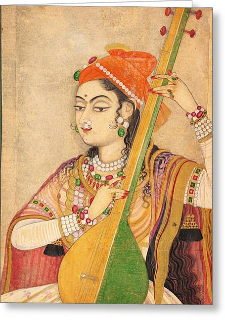 Jihad Greeting Cards - A Lady Playing the Tanpura Greeting Card by Celestial Images