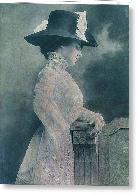 Petrol Green Greeting Cards - A Lady Ponders Greeting Card by Sarah Vernon