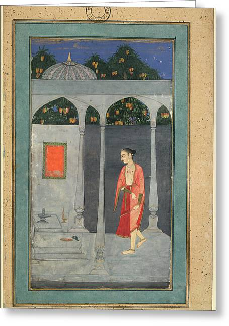 A Lady Visiting A Shrine Greeting Card by British Library