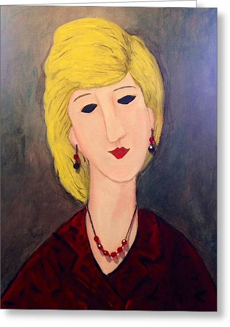 Modigliani Drawings Greeting Cards - A Lady with Jewelry Greeting Card by Sharon Lee Samyn