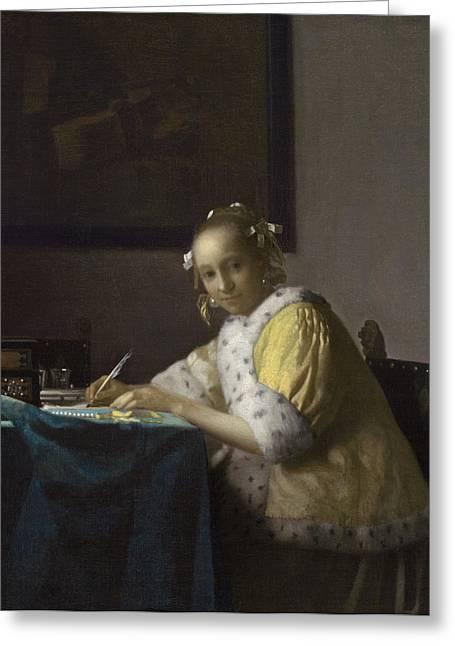 Jan Vermeer Paintings Greeting Cards - A Lady Writing Greeting Card by Johannes Vermeer