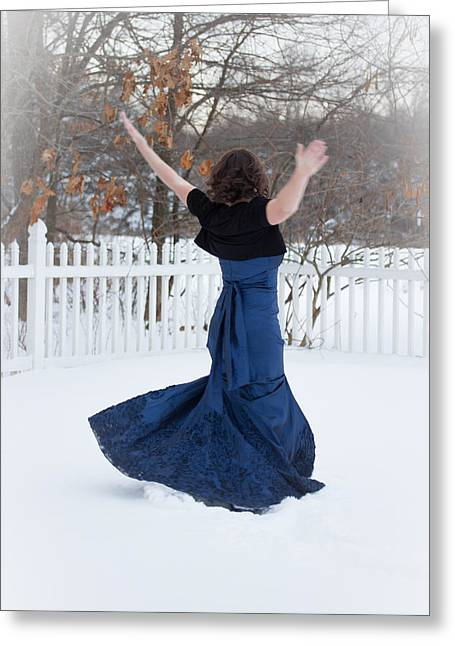 Oxymoron Greeting Cards - A Ladys Snow Dance Greeting Card by Veda Gonzalez