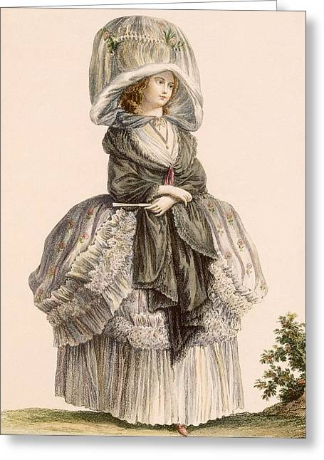 Black Veil Greeting Cards - A Ladys Summer Promenade Gown, Engraved Greeting Card by Claude Louis Desrais
