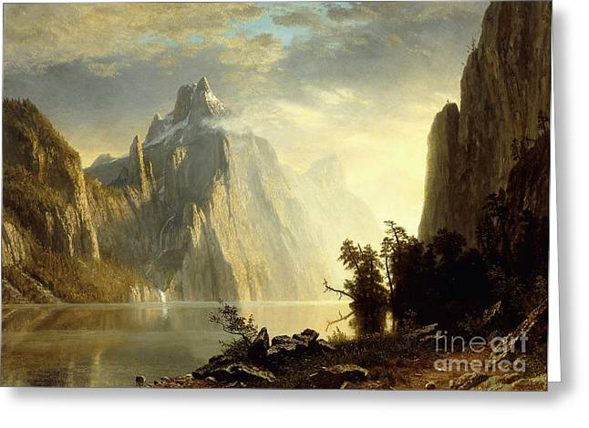Bierstadt Greeting Cards - A Lake in the Sierra Nevada Greeting Card by Albert Bierstadt