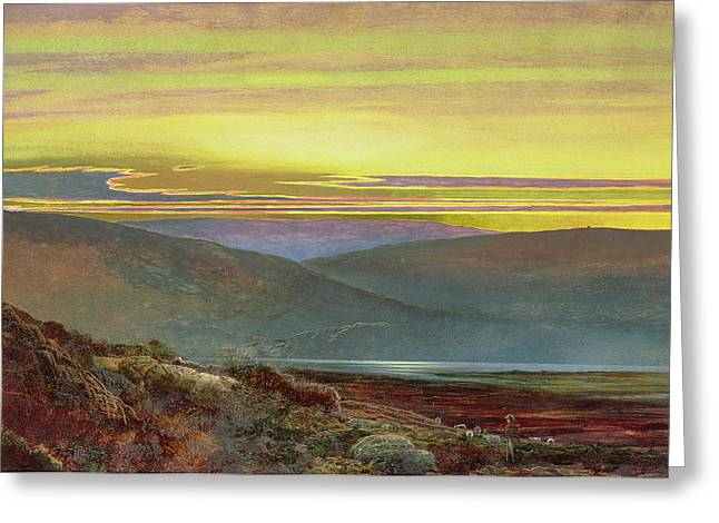 Hot Color Greeting Cards - A lake landscape at sunset Greeting Card by John Atkinson Grimshaw