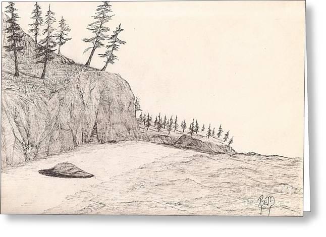 Robert Meszaros Greeting Cards - A Lakeshore... Sketch Greeting Card by Robert Meszaros