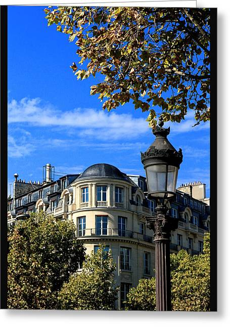 Champs Greeting Cards - A lampost Paris France Greeting Card by Tom Prendergast