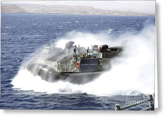 Landing Craft Greeting Cards - A Landing Craft Air Cushion Conducts Greeting Card by Stocktrek Images