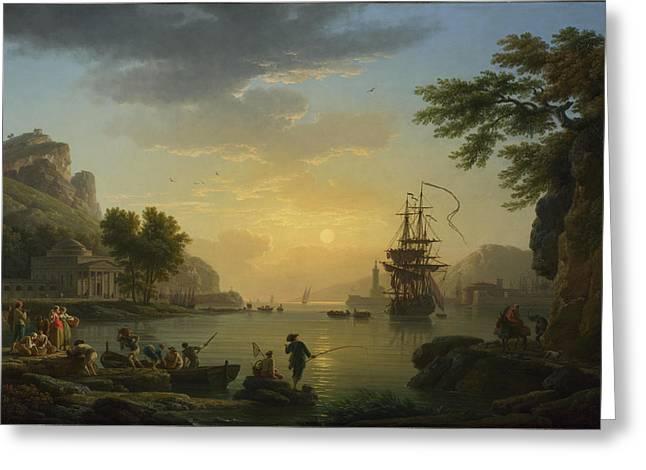 Landscape At Sunset Greeting Cards - A Landscape at Sunset Greeting Card by Claude-Joseph Vernet