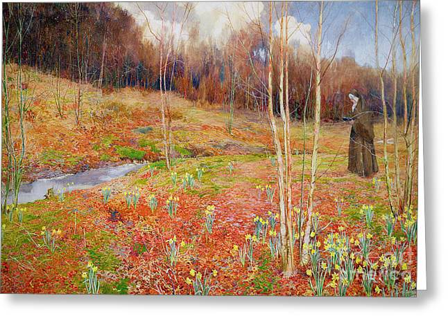 Yellow Leaves Paintings Greeting Cards - A Landscape In Spring With A Nun Greeting Card by John George Sowerby