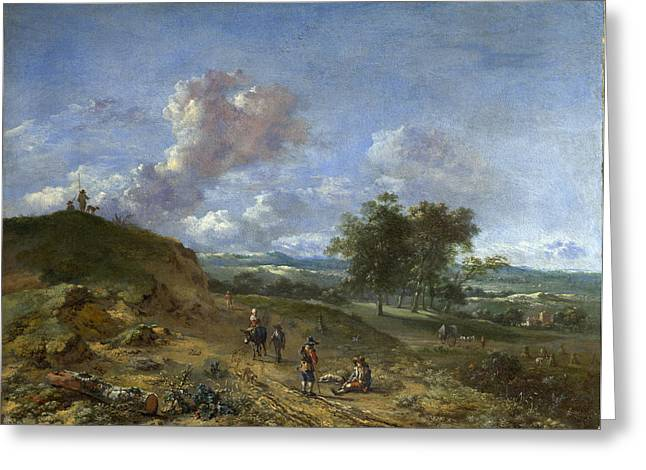 Landscape With A Road Greeting Cards - A Landscape with a High Dune and Peasants on a Road Greeting Card by Jan Wijnants