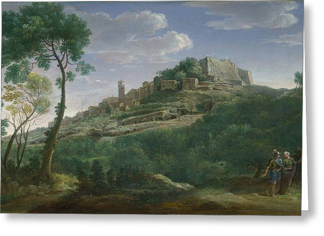 A Landscape With An Italian Hill Town Greeting Card by Hendrik Frans van Lint