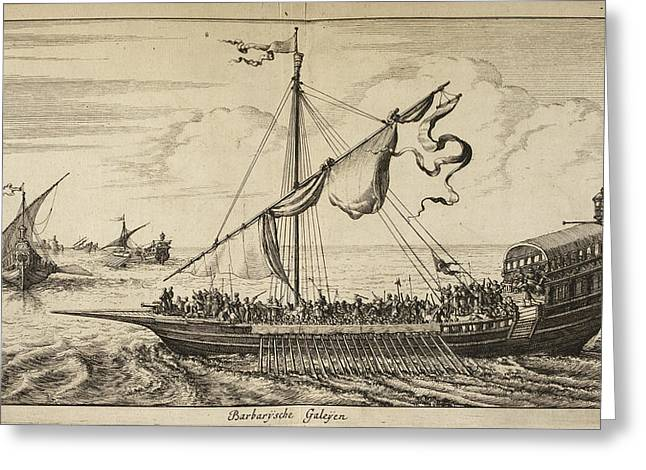 A Large Ship With A Sail And Mast Greeting Card by British Library