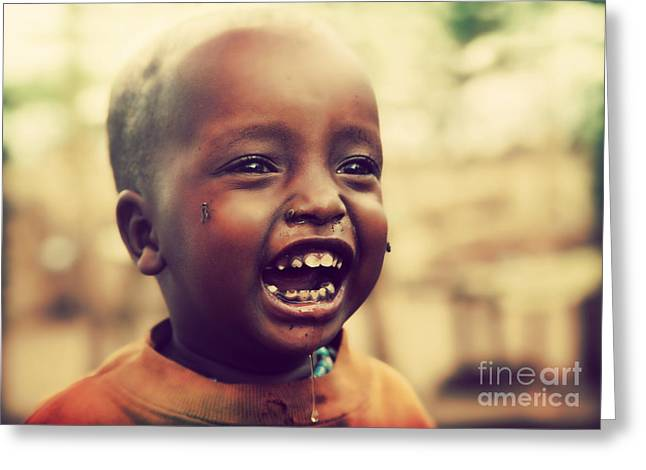 World Problems Greeting Cards - A laughing Tanzanian child Greeting Card by Michal Bednarek