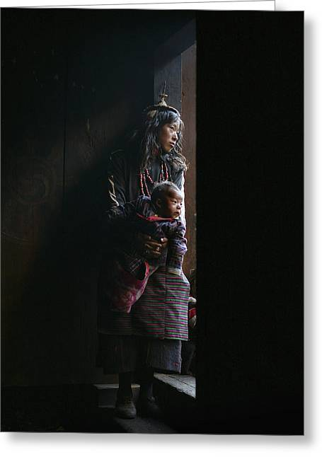 Entrance Door Greeting Cards - A Layap Girl Holding A Baby In Koina Greeting Card by Timothy Allen