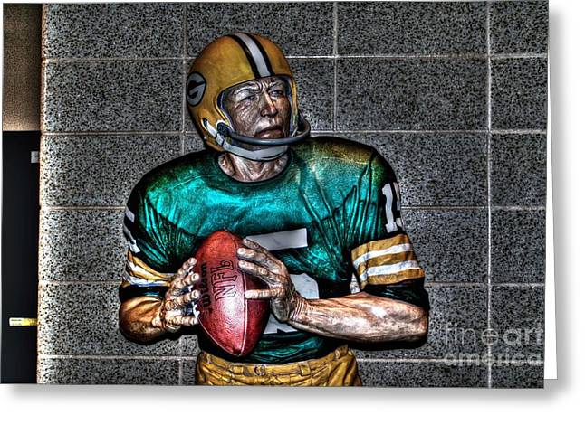 Lambeau Field Greeting Cards - A legend Greeting Card by Tommy Anderson