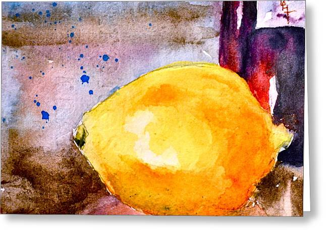 Vinegar Greeting Cards - A Lemon Greeting Card by Beverley Harper Tinsley