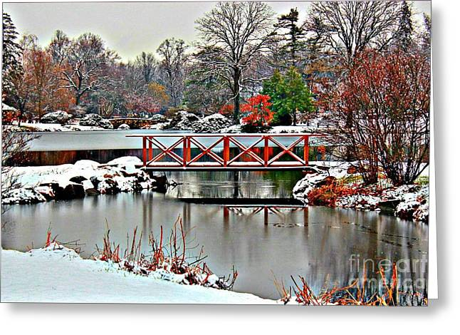Covered Bridge Greeting Cards - A Light Dusting Of Snow Greeting Card by Judy Palkimas