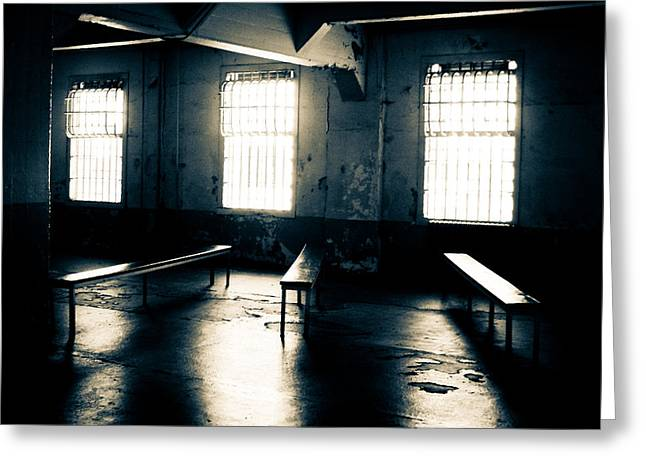 Alcatraz Greeting Cards - A Light Through the Windows Greeting Card by Ronda Broatch