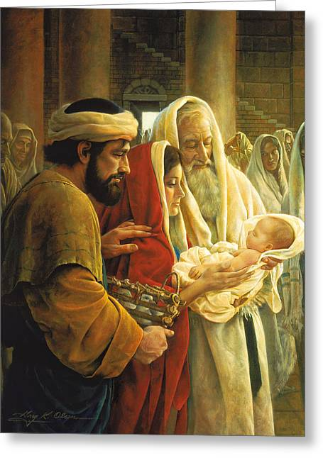 Baby Jesus Paintings Greeting Cards - A Light to the Gentiles Greeting Card by Greg Olsen