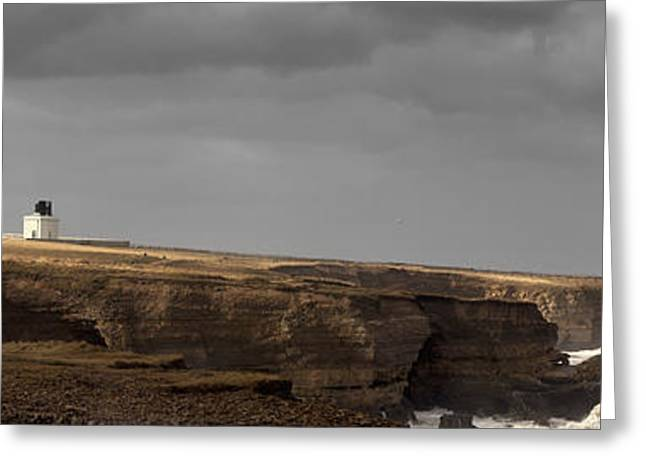 Light And Dark Greeting Cards - A Lighthouse And Cliffs Greeting Card by John Short