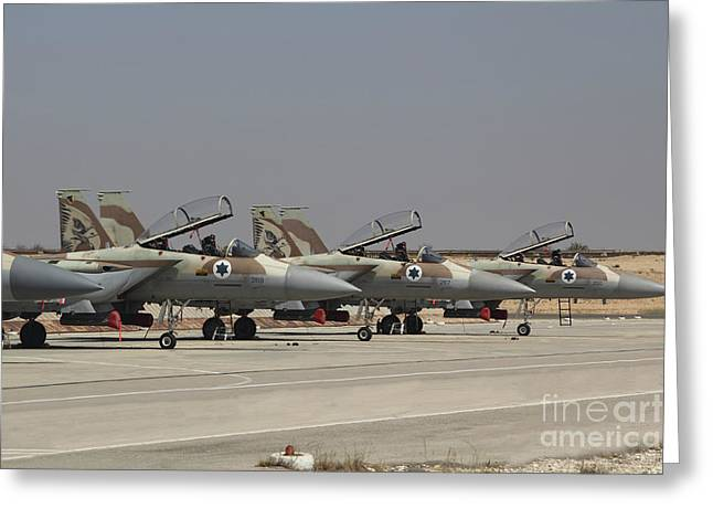 Foreign Military Greeting Cards - A Line Of F-15i Raam Of The Israeli Air Greeting Card by Ofer Zidon