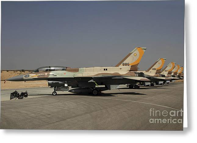 Jet Greeting Cards - A Line Of F-16i Sufa Of The Israeli Air Greeting Card by Ofer Zidon