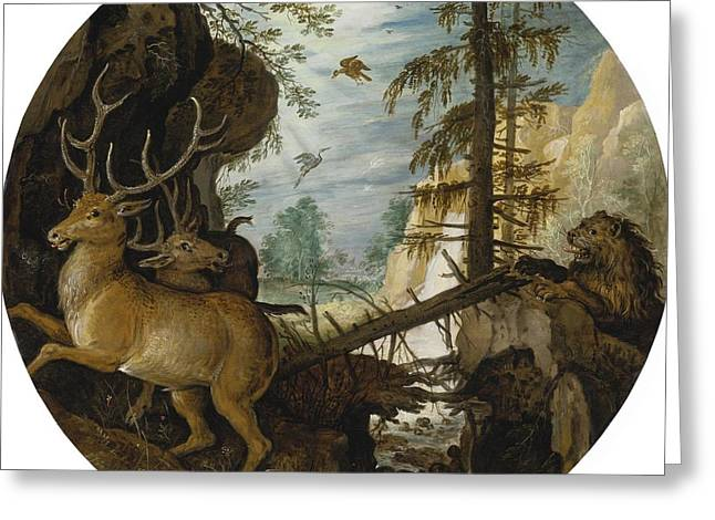 Two Deer Greeting Cards - A Lion Hunting Two Deer Greeting Card by Roelandt Savery