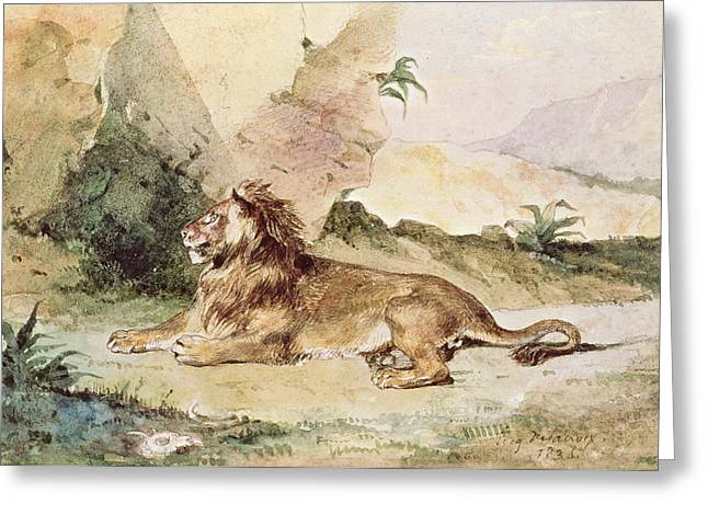 """wild Cat"" Greeting Cards - A Lion in the Desert Greeting Card by Ferdinand Victor Eugene Delacroix"