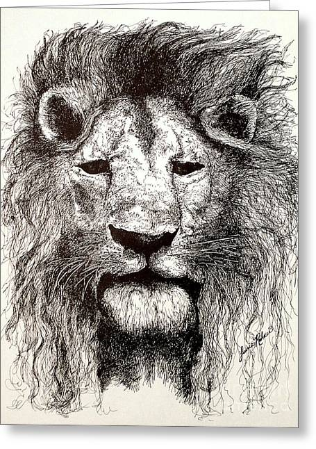 King Of Beast Prints Greeting Cards - A Lion Stare Greeting Card by Laurie Rohner