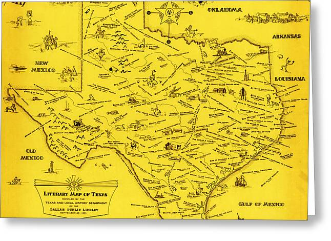 1955 Paintings Greeting Cards - A Literary map of Texas by Dallas Pub Lib 1955 Greeting Card by Celestial Images