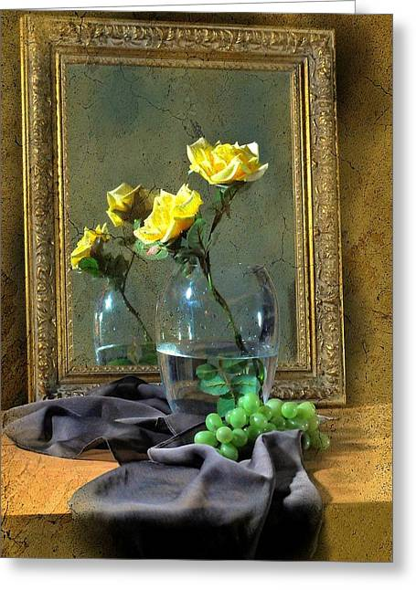 Vase Of Flowers Greeting Cards - A Little Bit Yellow Greeting Card by Diana Angstadt