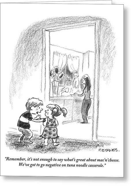 A Little Boy Speaks To A Little Girl Greeting Card by Pat Byrnes