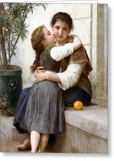 Williams Sisters Greeting Cards - A Little Coaxing Greeting Card by William Bouguereau