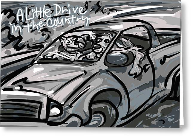 Road Trip Drawings Greeting Cards - A Little Drive Greeting Card by Brett LaGue
