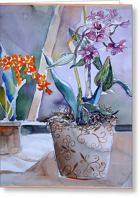 Potted Plants Drawings Greeting Cards - A Little Elegance Greeting Card by Mindy Newman