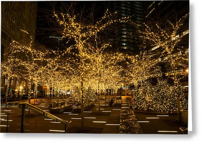 Festivities Greeting Cards - A Little Golden Garden in the Heart of Manhattan New York City Greeting Card by Georgia Mizuleva