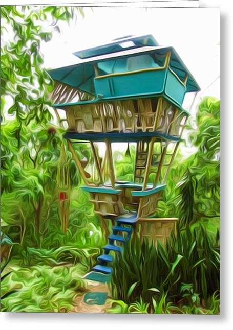 Bamboo House Greeting Cards - A little hut in the jungle  Greeting Card by Lanjee Chee