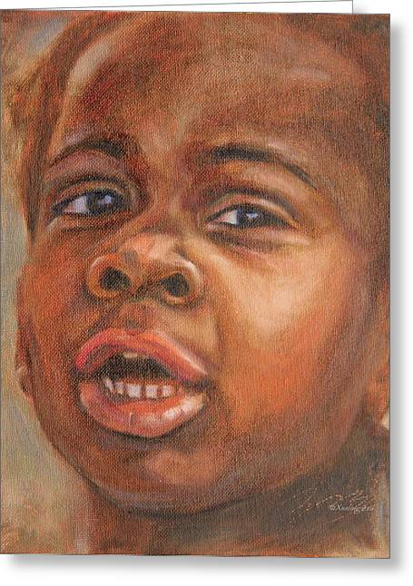 African-american Greeting Cards - A Little New Yorker Greeting Card by Xueling Zou